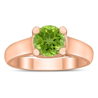 Round 7MM Peridot Cathedral Solitaire Ring in 10K Rose Gold