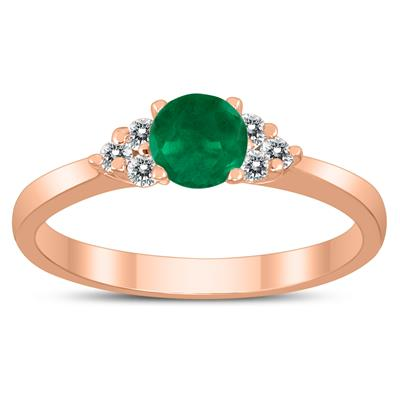 4MM Emerald and Diamond Cynthia Ring in 10K Rose Gold