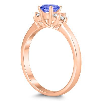 4MM Tanzanite and Diamond Cynthia Ring in 10K Rose Gold