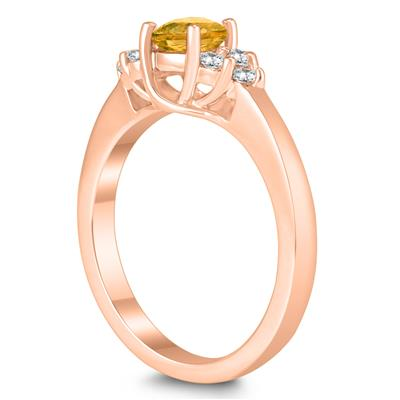 5MM Citrine and Diamond Cynthia Ring in 10K Rose Gold