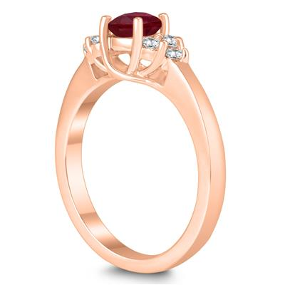5MM Ruby and Diamond Cynthia Ring in 10K Rose Gold