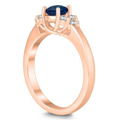 5MM Sapphire and Diamond Cynthia Ring in 10K Rose Gold