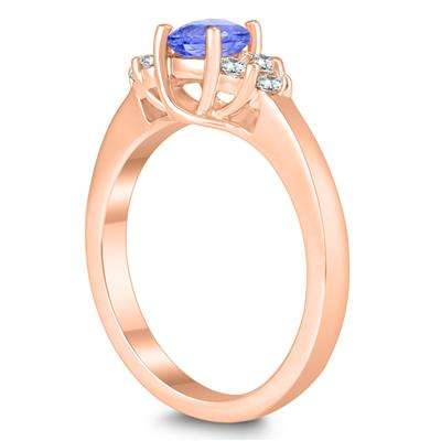 5MM Tanzanite and Diamond Cynthia Ring in 10K Rose Gold