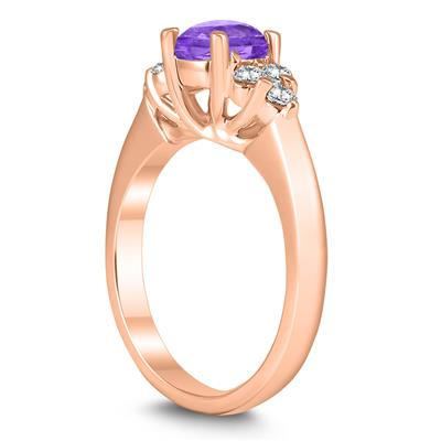6MM Amethyst and Diamond Cynthia Ring in 10K Rose Gold