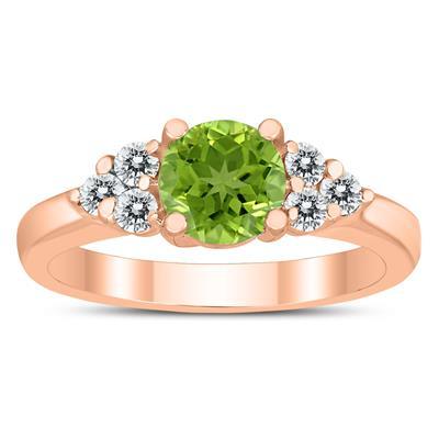 6MM Peridot and Diamond Cynthia Ring in 10K Rose Gold