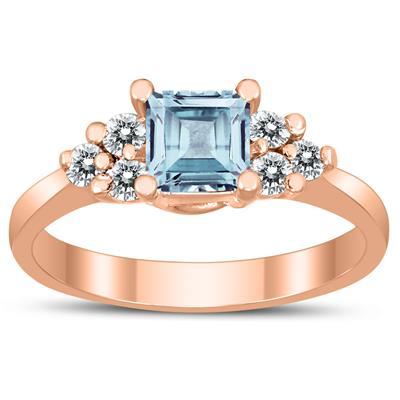 Princess Cut 5X5MM Aquamarine and Diamond Duchess Ring in 10K Rose Gold