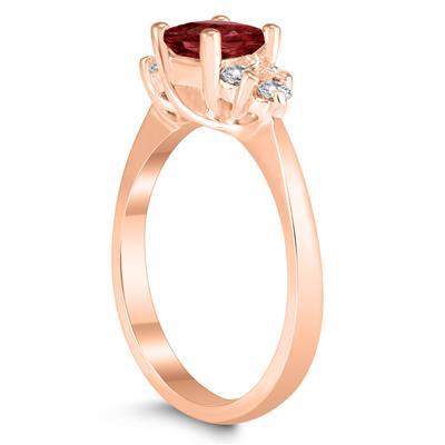 Princess Cut 5X5MM Garnet and Diamond Duchess Ring in 10K Rose Gold
