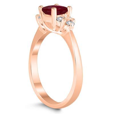 Princess Cut 5X5MM Ruby and Diamond Duchess Ring in 10K Rose Gold