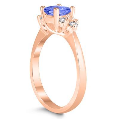 Princess Cut 5X5MM Tanzanite and Diamond Duchess Ring in 10K Rose Gold