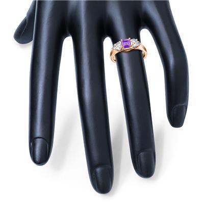 Princess Cut 6X6MM Amethyst and Diamond Duchess Ring in 10K Rose Gold