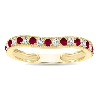 Ruby and Diamond Channel Set Wedding Band in 10K Yellow Gold