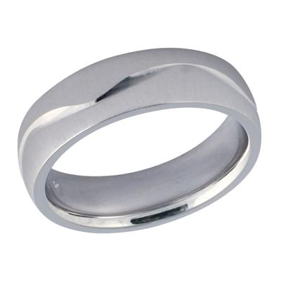 6mm White Gold Diamond Cut Wedding Band in 14K