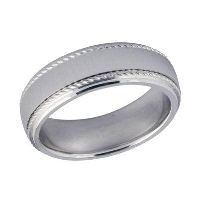 14K White Gold Rope Wedding Ring