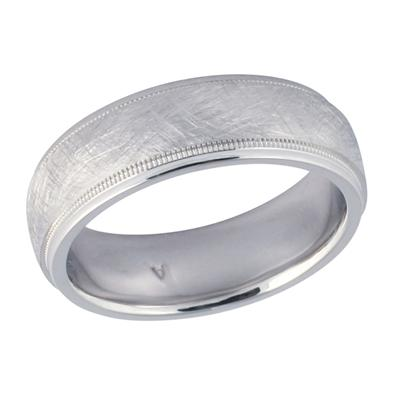 14K White Gold Unique Wedding Band