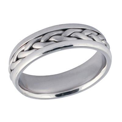 14K White Gold Braided Wedding Ring
