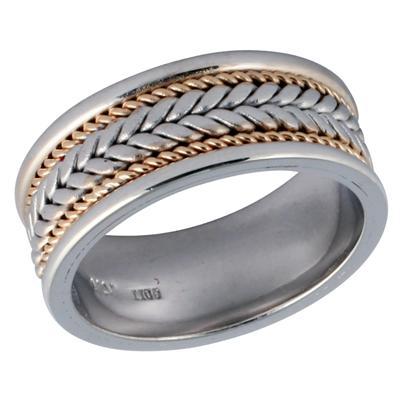 14K White & Yellow Gold Rope Weave Wedding Ring