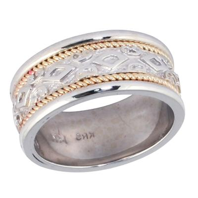 14K White & Yellow Gold Rope Diamond Wedding Ring