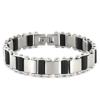 Stainless Steel Interchanging Squares and Black Rubber Cylinder Bracelet