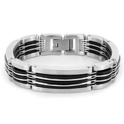 Stainless Steel and Black Rubber Polished Bracelet