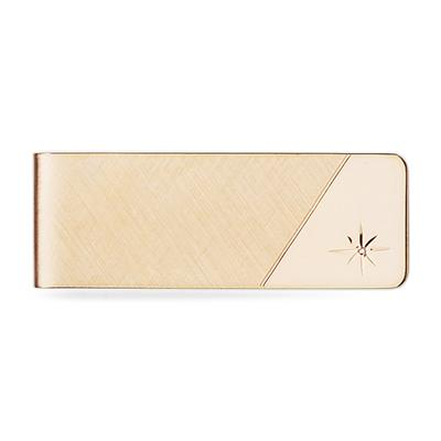 Gold and Diamond Accent Hinged Money Clip
