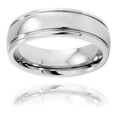 Polished Grooved Tungsten Carbide Ring (7.0mm)