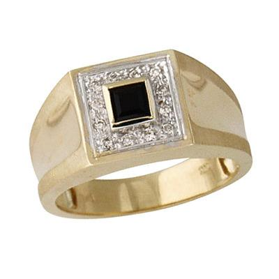 14kt. Yellow Gold Black Onyx Diamond Men