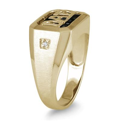Onyx & Diamond DAD Ring 10k Yellow Gold