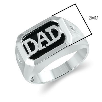 Onyx & Diamond DAD Ring 10K White Gold