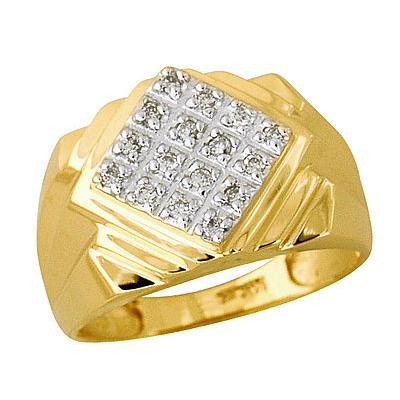 10-kt Diamond and Yellow Gold Mens Ring