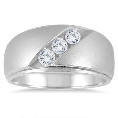 1/2 Carat TW Diamond Three Stone Men's Ring in 10K White