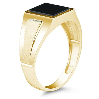 10K Yellow Gold Onyx and Diamond Men