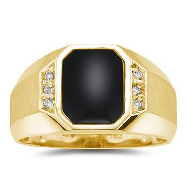 10K  Yellow Gold Onyx and Diamond Men