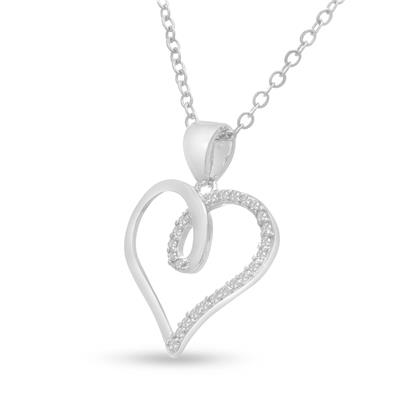1/10 Carat TW Diamond Swirl Heart Pendant in Sterling Silver Plated Brass