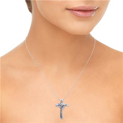 Heart and Cross Diamond Pendant in 10K White Gold