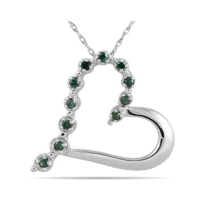Blue Diamond Heart Pendant in 10K White Gold