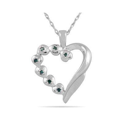 Blue Diamond Heart Pendant in 10K White Gold
