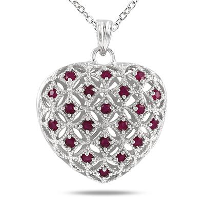 1 Carat Ruby Heart Puff Pendant in .925 Sterling Silver