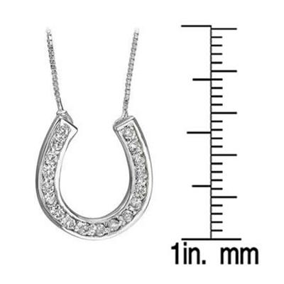 1/4 Carat Diamond Horseshoe Pendant in .925 Platinum Plated Sterling Silver