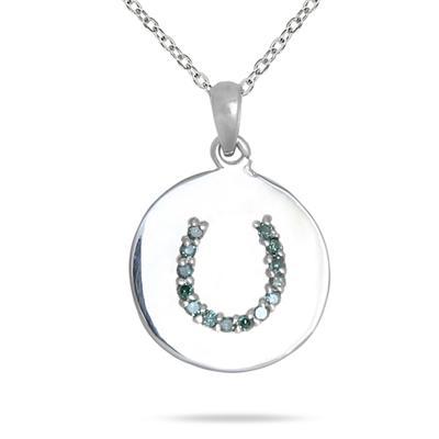 Blue Diamond Horseshoe Tag Pendant in 10K White Gold
