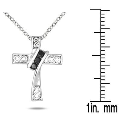 Black Diamond Pendant in 10k White Gold