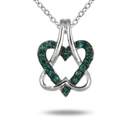 Blue Diamond Double Heart Pendant in 10K White Gold