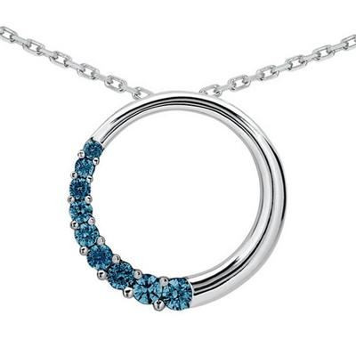 1/2 CTW Blue Diamond Circle Journey Pendant in 14K White Gold