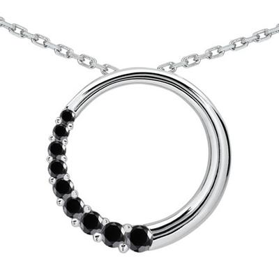 3/4 CTW Black Diamond Circle Journey Pendant in 10K White Gold