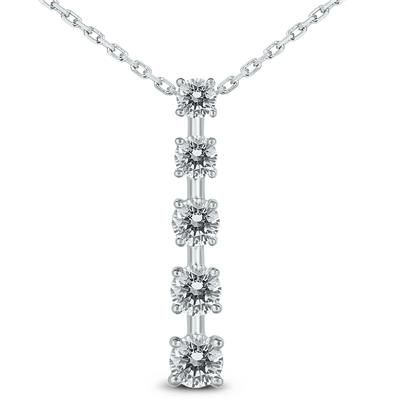 AGS Certified 3/4 Carat TW Diamond Journey Pendant in 14K White Gold