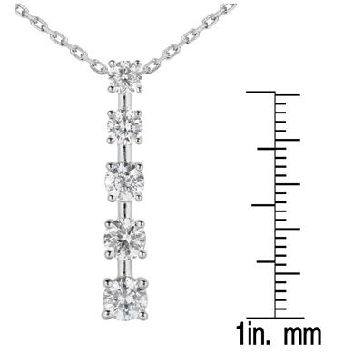 1 Carat TW Diamond Journey Pendant in 14K White Gold