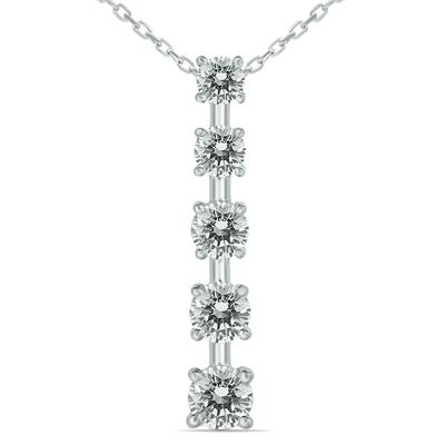 AGS Certified 1 1/2 Carat TW Diamond Journey Pendant in 14K White Gold