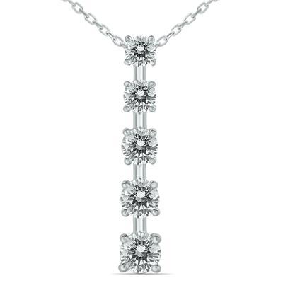 1 1/2 Carat TW Diamond Journey Pendant in 14K White Gold