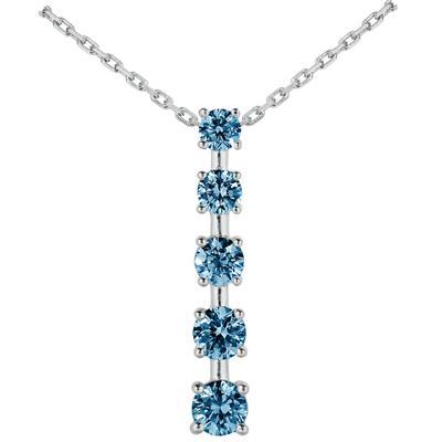 1/2 CTW Blue Diamond Journey Pendant in 10K White Gold
