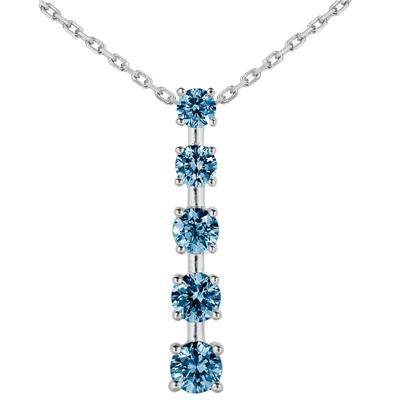 3/4 CTW Blue Diamond Journey Pendant in 10K White Gold