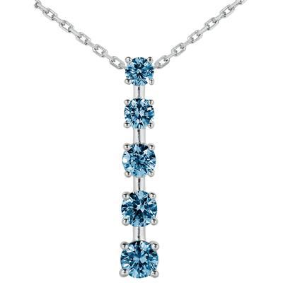 1.00 CTW Blue Diamond Journey Pendant in 10K White Gold